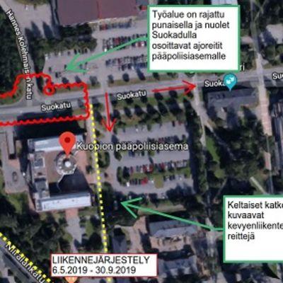 Suokatu Kuopiossa suljetaan läpiajavalta liikenteeltä 6. toukokuuta.