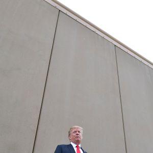Donald Trump vid en av de prototyper till gränsmurar som monterats upp nära San Diego, gränsstaden i sydligaste Kalifornien. Bilden tagen tisdagen 13.3.