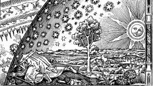 vanhan grafiikanlehti, jonka kuva-aiheena mies joka ryömii taivaankannen reunan ali