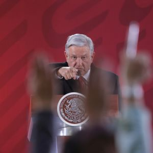 Mexikos president Andres Manuel Lopez Obrador talar den 30 januari 2019.