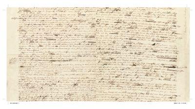 """Det enda ark som finns kvar av allt Emilie Flygare-Carlén skrev. Alla övriga brände hon. Det är ett ark ur romanen """"Enslingen på Johannisskäret""""."""