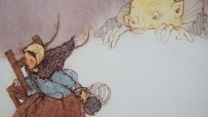 """Kuva Lisbeth Zwergerin kuvituksesta Grimmin veljesten satuun """"Seitsemän korppia"""""""