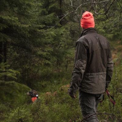 Jägare med sin hund i skogen