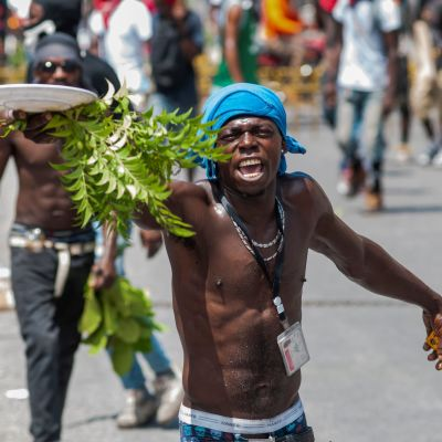 Demonstrant i Haiti