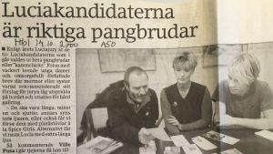 Klipp ur Hufvudstadsbladet den 14 oktober 2000. Rubrik: Luciakandidaterna är riktiga pangbrudar.