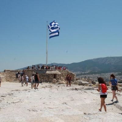 Också på Akropolis är det färre turister än vanligt.