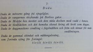 Rabbe Enckells dikt Dada (Quosego. Tidskrift för ny generation N:o 2. 1928)