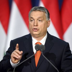 Ungerns premiärminister Viktor Orbán höll sitt tal till nationen inför sina anhängare i Budapest den 18 februari.
