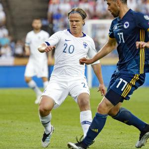 Petteri Forsell fick spela EM-kval i juni mot Bosnien-Hercegovina.