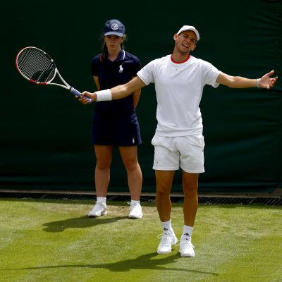 Dominic Thiem spelade i Wimbledon i början av juli.