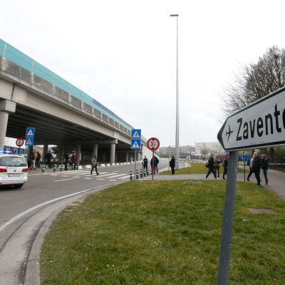 Flygplatsen Zaventem i Bryssel strax efter explosionen
