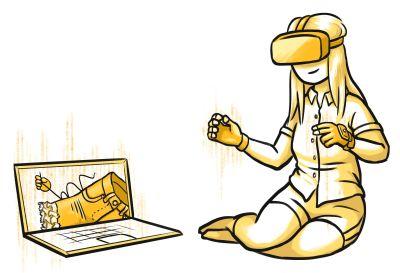 Nainen ompelee housuja virtuaalitodellisuudessa.