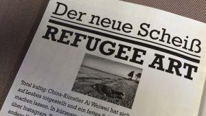 Den satiriska tyska tidningen Titanic skämtar om flyktingkonst