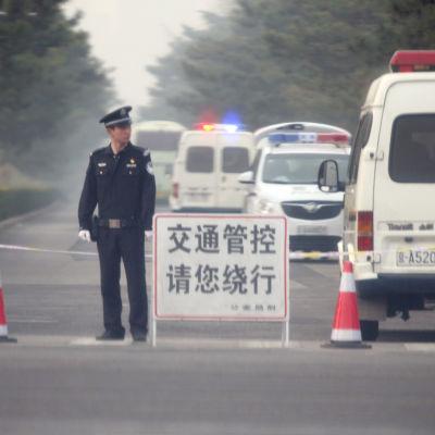 Diaoytai-komplexet där Kim kanske övernattat var avspärrat på tisdag morgon.