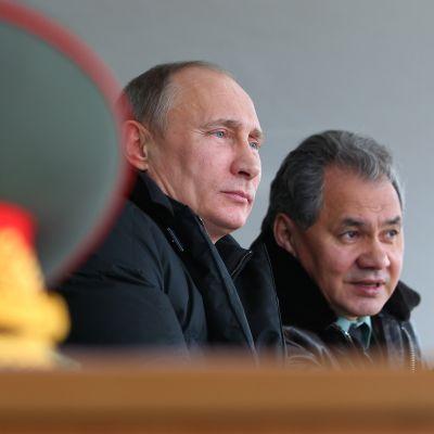 Rysslands president Vladimir Putin och försvarminister Sergej Sjojgu 29.03.2013.