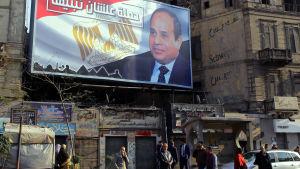 Bilder av president Abdel Fatah al-Sisi överskuggar gator och torg inför presidentvalet i slutet av mars