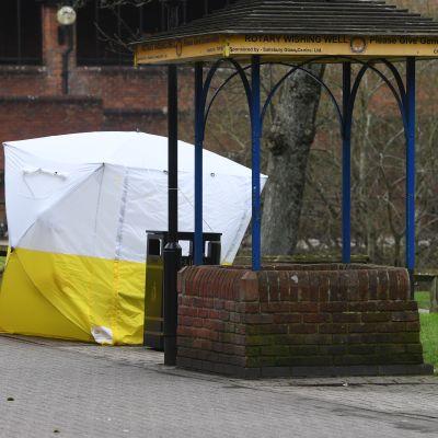 Den bänk i Salisbury där Sergej Skripal och hans dotter Julia kollapsade efter att ha blivit förgiftade med nervgas.