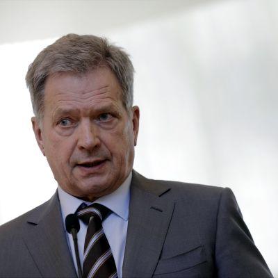 President Sauli Niinistö på Talludden i Helsingfors den 6 april 2017.