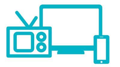 Symboli-kuva, jossa radio, televisio ja kännykkä.