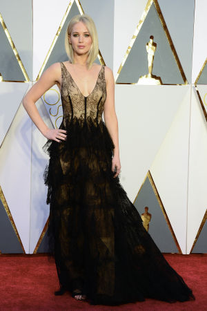 Jennifer Lawrence på Oscarsgalan 2016.