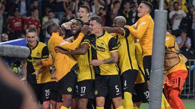 Young Boys firar seger i Champions League.