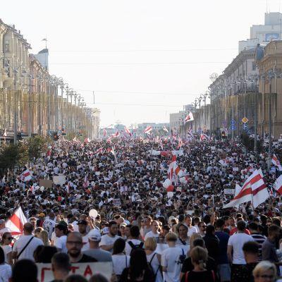 Valtava väkijoukko täyttää kadun niin kauas kuin silmä siintää. Ihmiset heiluttavat punavalkoisia lippuja.