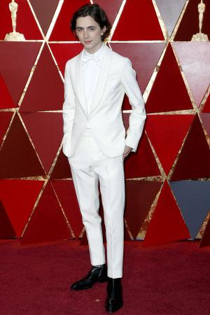 Timothee Chalamet på röda mattan inför Oscarsgalan 2018.