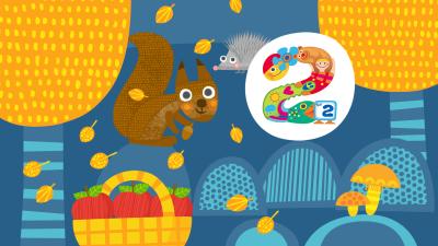 Pikku Kakkosen logo syksyissä väreissä. Keltaisia lehtiä tippuu. Orava myös kuvissa.