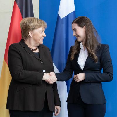 Tysklands förbundskansler Angela Merkel och Finlands statsminister Sanna Marin