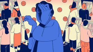 Illustration av penningautomatspelare som skäms