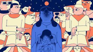 Illustration med mamma och dotter i mitten som skäms och religiösa fanatiker i bakgrunden