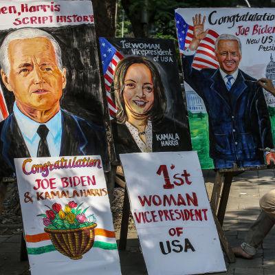 Målningar av Joe Biden och Kamala Harris.