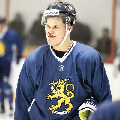 Jesse Puljujärvi på Finlands träningar, våren 2017.