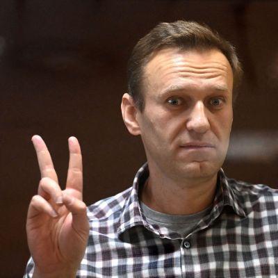 Aleksej Navalnyj visade segertecknet under en rättegång i Moskva i februari i år. Han har suttit fängslad sen i januari, då han återvände till Ryssland från Tyskland.