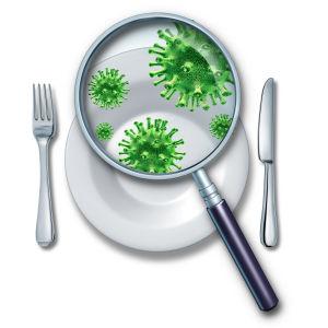 En tecknad tallrik med ett förstoringsglas på sig i vilket man ser virus.