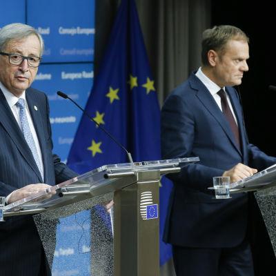 EU-kommissionens ordförande Jean-Claude Juncker och Europeiska rådets ordförande Donald Tusk vid toppmötet 17.12.2015