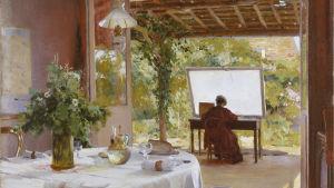 Tavla med kvinnlig konstnär som målar utomhus. Bilden är beskuren. William Blair Bruce, Friluftsateljé, odat. Olja på duk, 73 x 92 cm