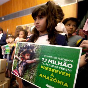 En liten flicka står med en skylt för att rädda Amazonas.