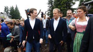 Sebastian Kurz och Donald Tusk i Schladmingen, Österrike.