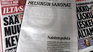 Helsingin Sanomats första sida på kvinnodagen 2018