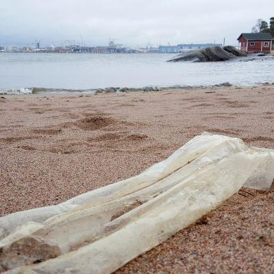 Plastskräp på en strand, i bakgrunden syns en röd stuga samt industriområde.
