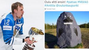 Marko Anttila och en staty av Mårran.
