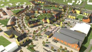 """Bild som visar trädgårdskvarter på det nya området  """"Sjundeås hjärta""""."""