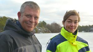 Alf Norkko och Joanna Norkko vid Tvärminne Zoologiska station i Hangö.