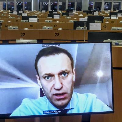 Navalnyin kasvot ruudulla.