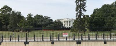 Många staket framför Vita huset i Washington
