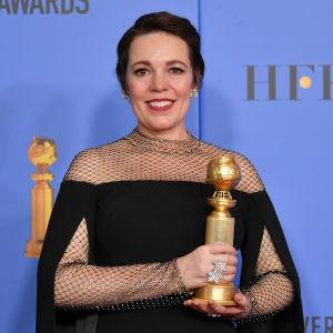 Olivia Colman vann priset för bästa kvinnliga roll i en komedi eller musikal på Golden Globes 2019.