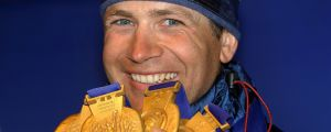 Ole Einar Björndalen med sina fyra OS-guld 2002.