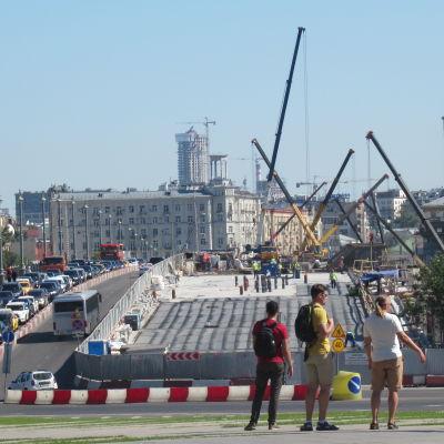 Ett stort vägarbete i Ryssland.