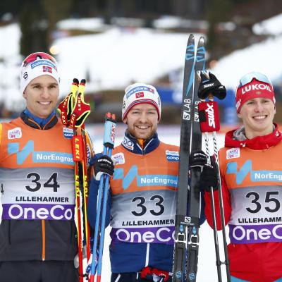 Didrik Tönseth, Sjur Röthe och Denis Spitsov var snabbst i Lillehammer.